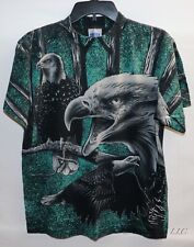 New listing 90s Bald Eagle All Over Graphic Forest Tultex Black Green Shirt M Vintage