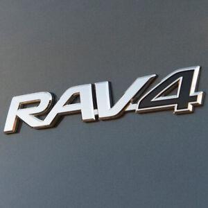 Chrome & Black Car Badge For RAV4 Tailgate Boot Rear Door Wing 160X32mm