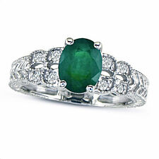 10K WHITE GOLD 1 1/2CT EMERALD AND DIAMOND VINTAGE RING, SIZE-7