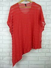 Ts top /blouse red stripe size M, 18 asymmetrical hem