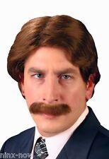 70's Male Wig & Moustache set Porn Star, News Reader, Detective Costume WIG