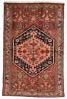 Vintage Tribal Oriental Hamadan Rug, 4'x6', Red/Pink, Hand-Knotted Wool Pile