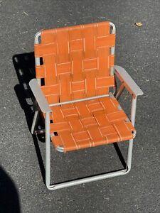 Vintage MCM Aluminum Lounge Chair Child Size Orange Nylon Web Campfire Beach