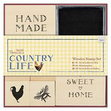 WOODEN STAMP SET (Bee, Cockerel & more) - Country Life Collection from Docrafts