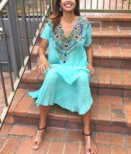 Kaftan 100% Silk Summer Dresses for Women