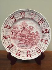 "Alfred Meakin GOD BLESS OUR HOUSE 9"" Red Calendar Plate 1969 Transferware"