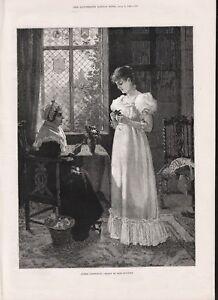 ANTIQUE OLD 1886 PRINT UNDER INSTRUCTION MOTHER AND DAUGHTER ARRANGE FLOWERS b4