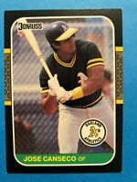 Jose Canseco 1987 Donruss Baseball Card #97 Oakland Athletics