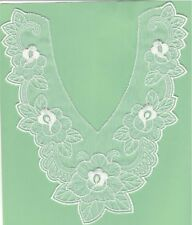 """9"""" White Flower Bridal V neck Embroidery Patch"""