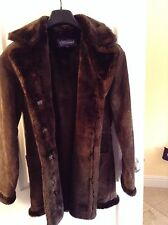 Genuine Leather soft SUPER warm lined faux fur LONG Jacket Winter Coat     M