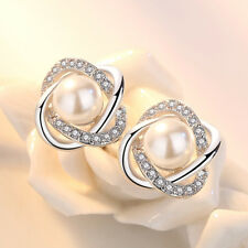 New Womens 925 Sterling Silver Pearl Zircon Crystal Simple Ear Stud Earrings