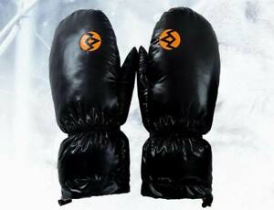 Unisex shiny gloss nylon down gloves mittens mitts winter wet-look Large size