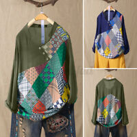 UK Womens Long Sleeve Floral Printed Patchwork Shirt Casual Tops Blouse Pullover