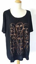Damentunika ,Shirt  Größe  2XL schwarz mit Applikationen Kurzarm