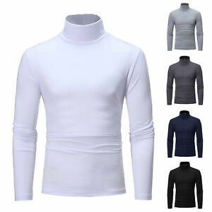 Men's Autumn Winter Turtleneck Long Sleeve Slim Pullover Sweater Blouse Tops Tee