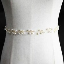 Women Gold Color Wired Pearl Wedding Belt Ribbon Bridal Waistband Belly Chain