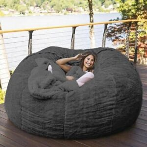 7-Foot Soft and comfortable, Fur Bean bag cover for living room, lazy sofa cover