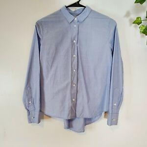 Madewell Women Blue Westlight Button Down Collar Long sleeve Shirt SZ XXS