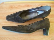 GABOR CHOCOLATE BROWN 100% SUEDE LADIES COURT SHOES SIZE 6.5 G COMFORT WIDTH 40