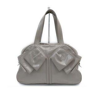 Yves Saint Laurent Hand Bag Obi Bow Gray Patent Leather 1528505