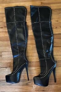 Publicite' Thigh High Zipper Leather Like High Heel Boots  size 10