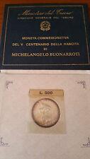 moneta l.500 anniversario michelangelo buonarroti 1975