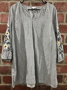 J Jill Floral Embroidered Striped Boho Tunic Top Size Large Tall