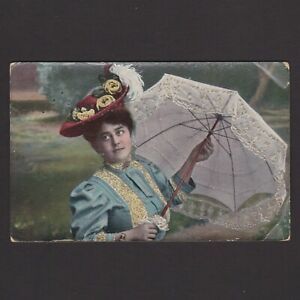 Vintage color postcard, Woman with umbrella, Posted in 1908 Netherlands