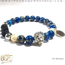Men's Bead Bracelet, Lion Charm Bead Bracelet, Blue Jasper Sea Sediment Bracelet