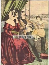 """CURRIER and IVES """"Married"""" 1952 Print Husband Wife Baby Daughter"""