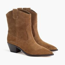 New JCREW Size 8 Western Boots in Brown Suede