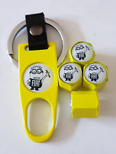 FIAT MINIONS YELLOW DUST VALVE CAPS AND SPANNER ALL MODELS BOXED PUNTO 500 QUBO
