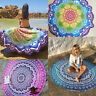 Hippie Indian Peacock Mandala Round Roundie Towel Throw Tapestry Beach Yoga Mat
