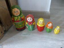 ancienne poupée russe 5 elements matriochka peinte vintage antique deco