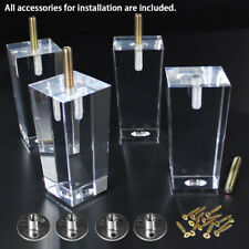 4 in Furniture Legs Set of 4 Clear Sofa Legs Replacement Acrylic Couch Feet