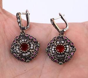 TURKISH RUBY .925 SILVER & BRONZE EARRINGS #37044