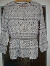 Bluse Tunika langarm Gr. 146/152 weiß schwarzes Muster YIGGA top