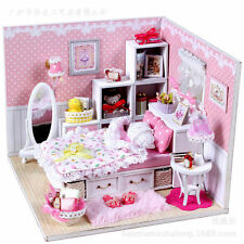 New Kits DIY Wood Dollhouse miniature with LED+Furniture+cover Doll house room 3
