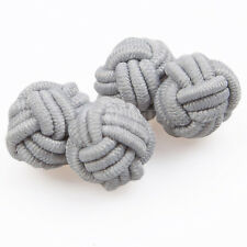 DQT Polyester Knot Fabric Cuff Links Plain Solid Silver Mens Cufflinks