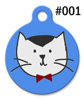 Pet Tags for Dog & Cat | Personalized Custom Cute ID | Blue KITTEN Bowtie #001
