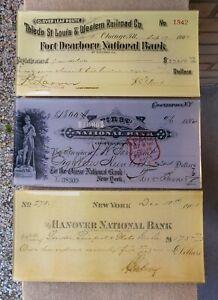 3 Twos Company New York Railroad National Bank Antique Checks Bent Glass Trays