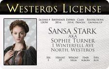 Sansa Stark Game Of Thrones Sophie Turner Winterfell card Drivers License