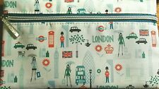 """Clinique Cosmetic Makeup Bag London England  Theme Zippered New/Unused 8.5""""x5"""""""
