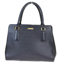 Authentic BURBERRY Logos Nova Check Hand Bag Canvas Leather Black Gold 07BP406