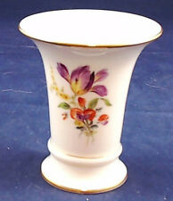 Meissen Small Trumpet Vase with Scattered Flowers & Gold Accents