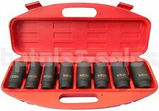 """8pc 1/2"""" DR. Front & Back Wheel Drive 12 Point Deep Spindle Axle Nut Socket Set"""