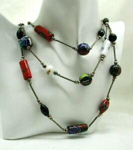 VIntage Lovely Multi Coloured Millefiori Bead Three Row Necklace