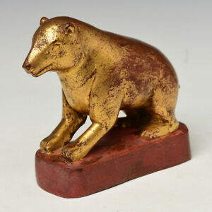 19th Century, Mandalay, Antique Burmese Wooden Mouse with Gilded Gold