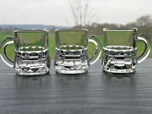 Set of 3 Federal Glass Clear Mini Beer Mug Shot Glasses F in Shield Bottom