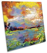 Abstract Floral Seascape CANVAS WALL ARTWORK Square Art Print